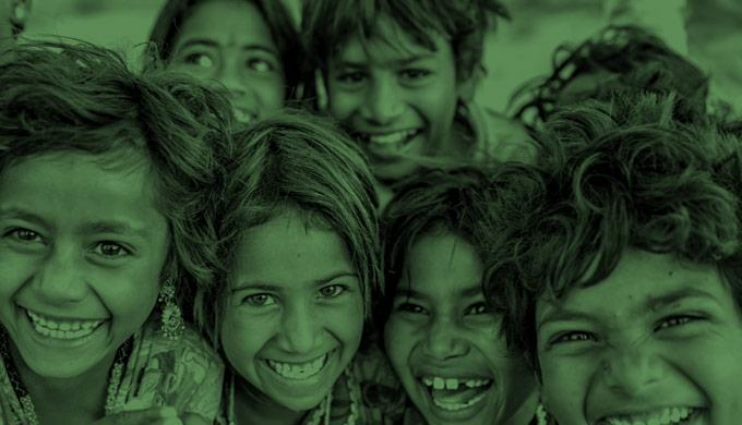 Indian children smiling